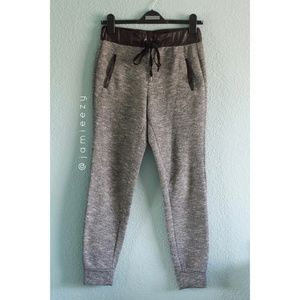 Forever 21   Faux Leather Waist Marled Joggers